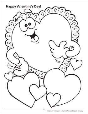 Happy Valentine's Day! Holidays and Celebrations Coloring Page - Printable Worksheet