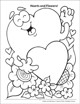 Hearts and Flowers! Holidays and Celebrations Coloring Page - Printable Worksheet