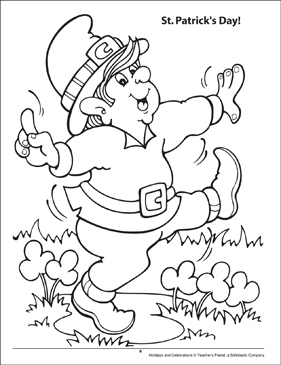 St. Patrick's Day Holidays and Celebrations Coloring Page - Printable Worksheet