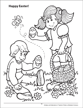 Happy Easter! Holidays and Celebrations Coloring Page - Printable Worksheet