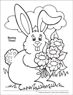 Bunny Time! Holidays and Celebrations Coloring Page - Printable Worksheet