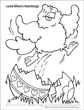 Look What's Hatching! Holidays and Celebrations Coloring Page - Printable Worksheet