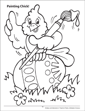 Painting Chick! Holidays and Celebrations Coloring Page - Printable Worksheet