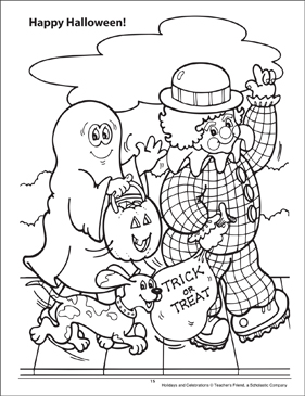 Happy Halloween! Holidays and Celebrations Coloring Page - Printable Worksheet