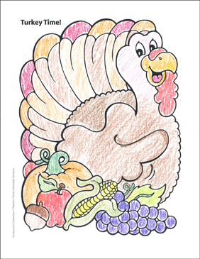 Turkey Time! Holidays and Celebrations Coloring Page - Printable Worksheet