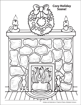 Cozy Holiday Scene! Holidays and Celebrations Coloring Page - Printable Worksheet