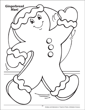 Gingerbread Man! Holidays and Celebrations Coloring Page - Printable Worksheet