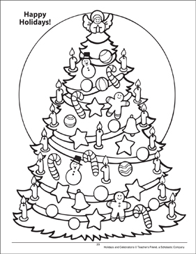 Happy Holidays! Holidays and Celebrations Coloring Page - Printable Worksheet