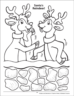 Santa's Reindeer! Holidays and Celebrations Coloring Page - Printable Worksheet