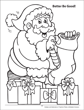 Better Be Good! Holidays and Celebrations Coloring Page - Printable Worksheet