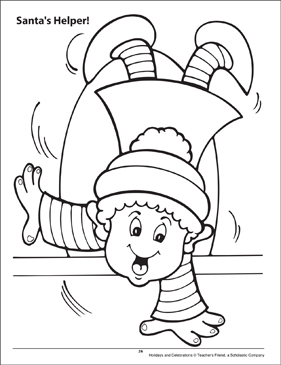 Santa's Helper! Holidays and Celebrations Coloring Page - Printable Worksheet