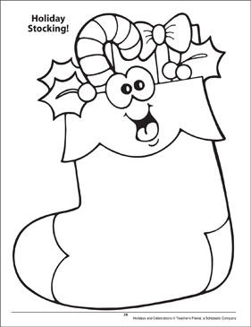 Holiday Stocking. Holidays and Celebrations Coloring Page - Printable Worksheet