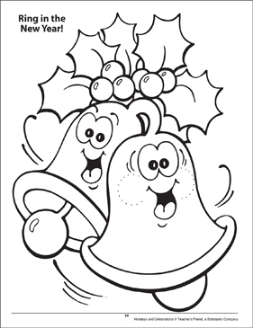 Ring in the New Year! Holidays and Celebrations Coloring Page - Printable Worksheet