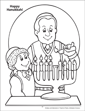 Happy Hanukkah! Holidays and Celebrations Coloring Page - Printable Worksheet