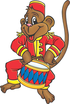 Circus Monkey with Drums - Image Clip Art