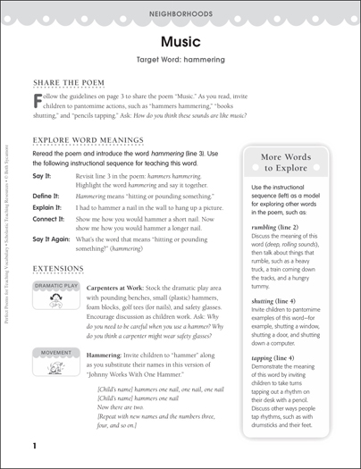 Music (Target Word - Hammering) - Printable Worksheet