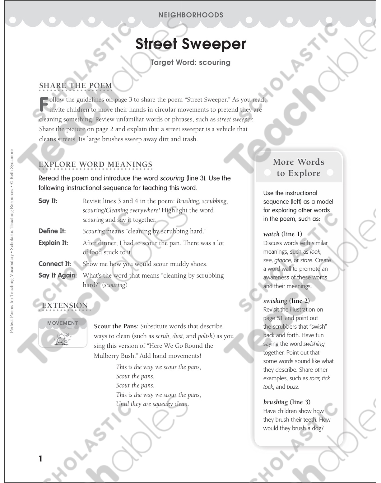 Street Sweeper (Target Word - Scouring) | Printable Lesson Plans