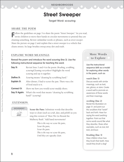 Street Sweeper (Target Word - Scouring) - Printable Worksheet