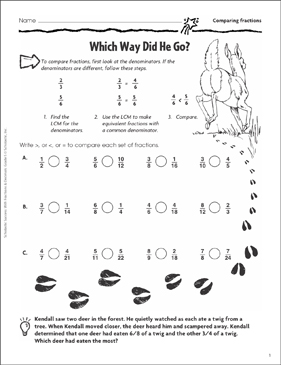 Which Way Did He Go? (Comparing Fractions) - Printable Worksheet