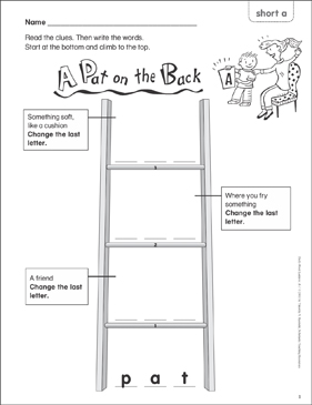 A Pat on the Back (short a) Word Ladder (K-1) - Printable Worksheet
