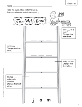 Jam With Sam (short a) Word Ladder (K-1) - Printable Worksheet