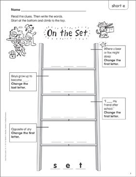 On the Set (short e) Word Ladder (K-1) - Printable Worksheet