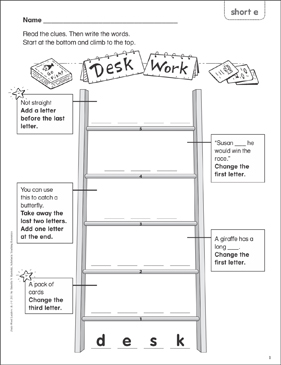 Desk Work (short e) Word Ladder (K-1) - Printable Worksheet