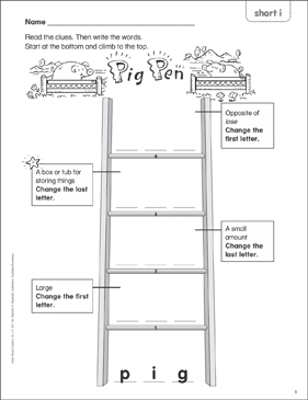 Pig Pen (short i) Word Ladder (K-1) - Printable Worksheet