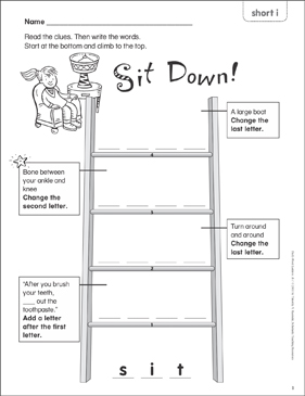 Sit Down! (short i) Word Ladder (K-1) - Printable Worksheet