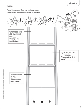 Hot, Hot, Hot! (short o) Word Ladder (K-1) - Printable Worksheet