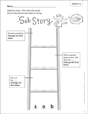 Sob Story (short o) Word Ladder (K-1) - Printable Worksheet