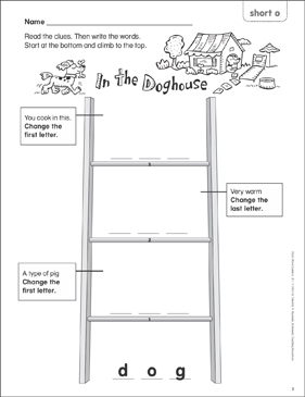In the Doghouse (short o) Word Ladder (K-1) - Printable Worksheet