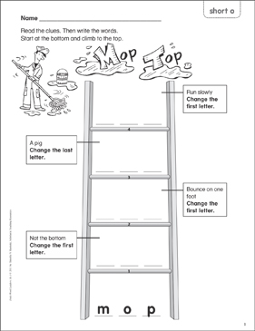 Mop Top (short o) Word Ladder (K-1) - Printable Worksheet