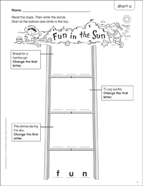 Fun in the Sun (short u) Word Ladder (K-1) - Printable Worksheet
