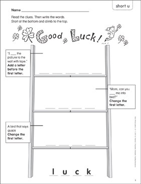 Good Luck! (short u) Word Ladder (K-1) - Printable Worksheet