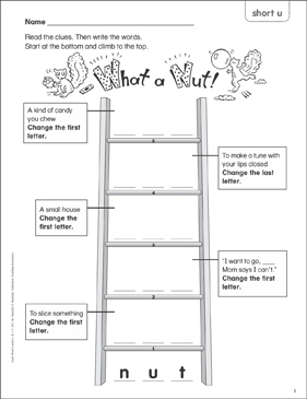 What a Nut! (short u) Word Ladder (K-1) - Printable Worksheet