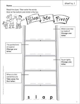 Slap Me Five! (short a, i) Word Ladder (K-1) - Printable Worksheet