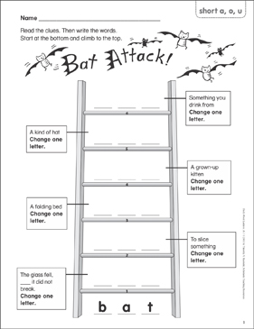 Bat Attack! (short a, o, u) Word Ladder (K-1) - Printable Worksheet