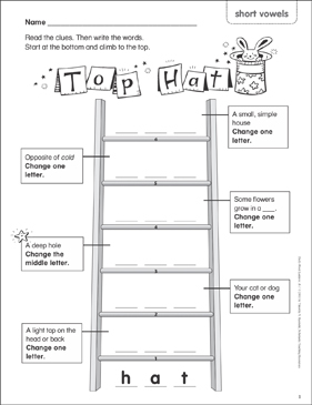 Top Hat (short vowels) Word Ladder (K-1) - Printable Worksheet