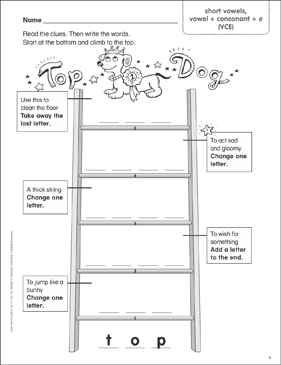 Top Dog (short vowels, vowel + consonant + e (VCE)) Word Ladder (K-1) - Printable Worksheet