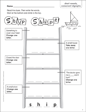 Ship Shape (short vowels, consonant digraphs) Word Ladder (K-1) - Printable Worksheet
