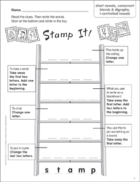 Stamp It! (short vowels, consonant blends & digraphs, l-controlled vowels) Word Ladder (K-1) - Printable Worksheet