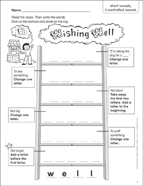 Wishing Well (short vowels, consonant blends & digraphs, l-controlled vowels) Word Ladder (K-1) - Printable Worksheet