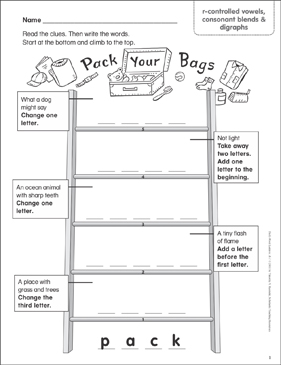 Pack Your Bags (r-controlled vowels, consonant blends & digraphs) Word Ladder (K-1) - Printable Worksheet