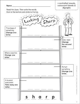 Looking Sharp (r-controlled vowels, consonant blends & digraphs) Word Ladder (K-1) - Printable Worksheet
