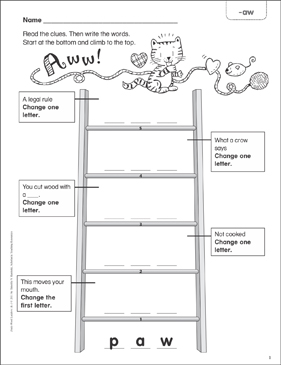 Aww! (-aw) Word Ladder (K-1) - Printable Worksheet