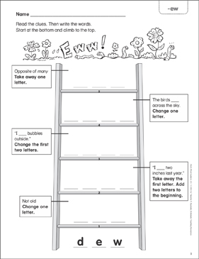 Eww! (-ew) Word Ladder (K-1) - Printable Worksheet