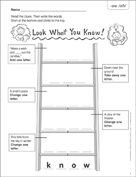 Look What You Know! (-ow/oh/) Word Ladder (K-1) - Printable Worksheet