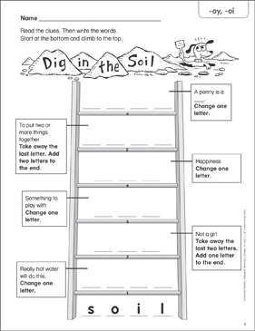 Dig in the Soil (-oy, -oi) Word Ladder (K-1) - Printable Worksheet