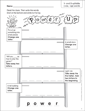 Power Up (1- and 2-syllable (-ow, -op) words) Word Ladder (K-1) - Printable Worksheet